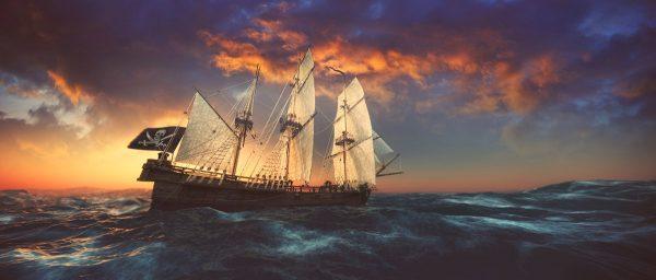 open seas at sunset